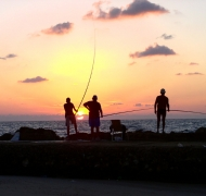 Fishermen at sunset, Tel Baruch beach, Tel Aviv